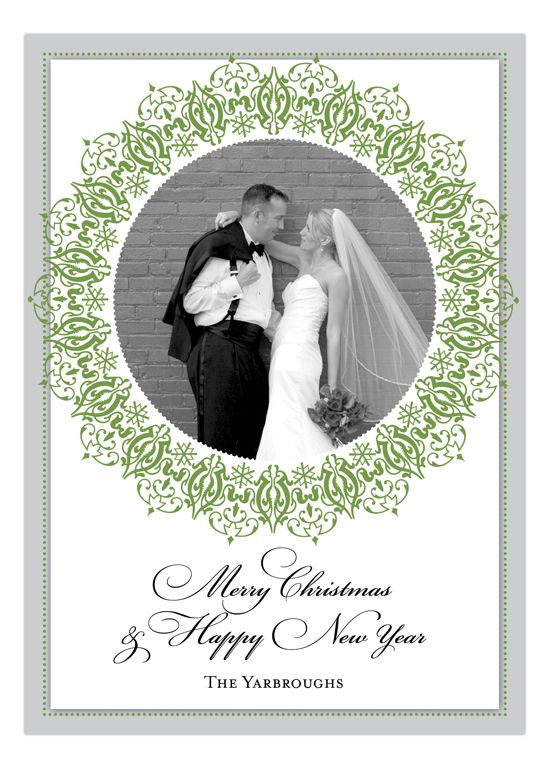 Looking for a classy, elegant, and timeless look for your save the date invitations? This tasteful photo card with forest green flourish accents surrounding a personal photo of the happy couple is the perfect card for a wedding around the holiday season or any season for that matter. This digital design by Lola Lorena allows you to upload a photo, using Polka Dot Design's studio, or you may choose to email a photo in after ordering. Photo cards at Polka Dot Designs are printed on a four…