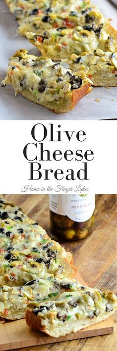 Olive Cheese Bread combines the brine-y flavors of olives, in a rich gooey cheese filling on top of crusty bread, for appetizer perfection.