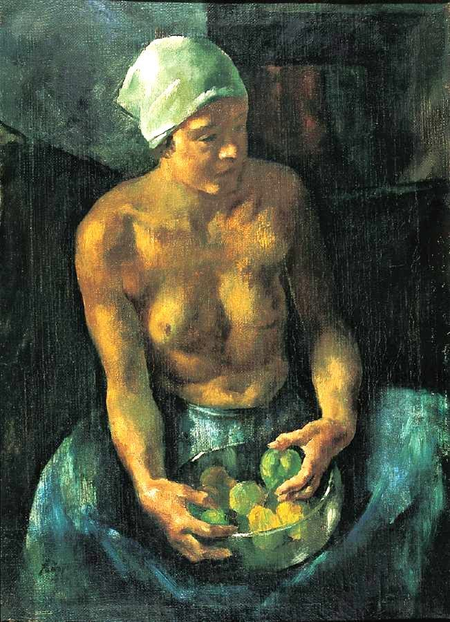 Szőnyi, István (1894-1960) - Girl with Apples (Half Nude with a Bowl of Fruits) 1921