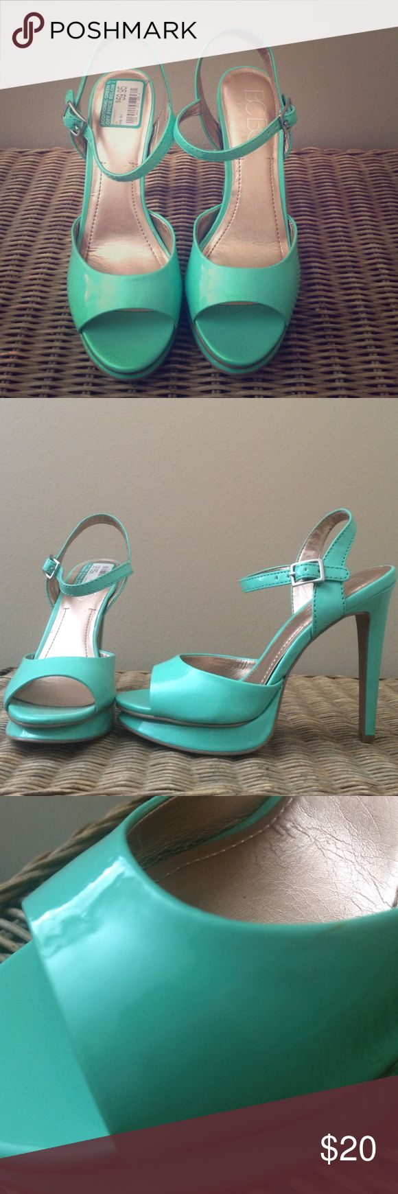 Mint heels Adorable mint heels. These are so comfortable!! The insert is slightly cushioned. Minor scuffing from one time use. BCBG Shoes Heels