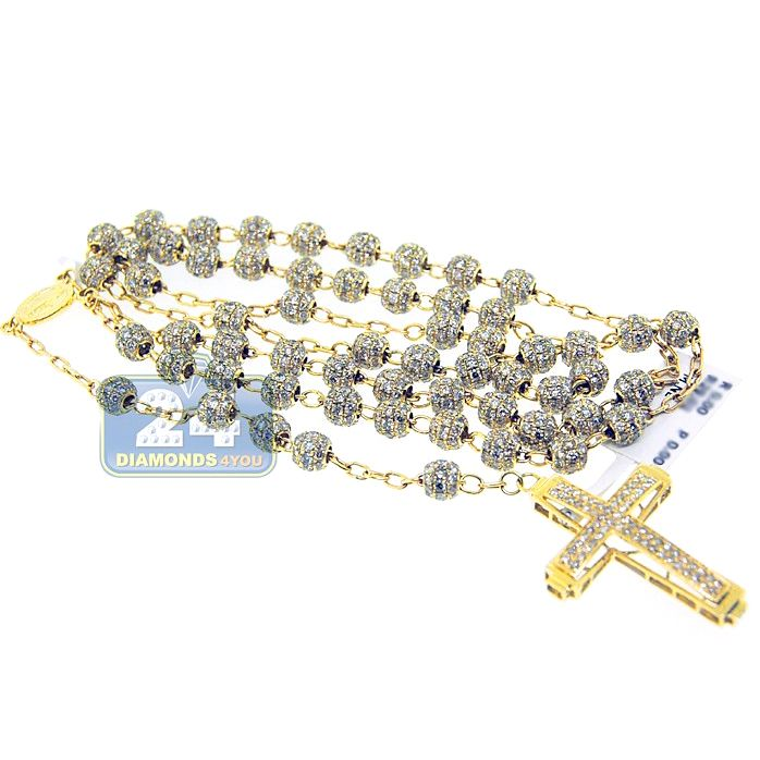 d29705e320fd4 14K Yellow Gold 29.00 ct Diamond Rosary Beads Mens Necklace in 2019 ...