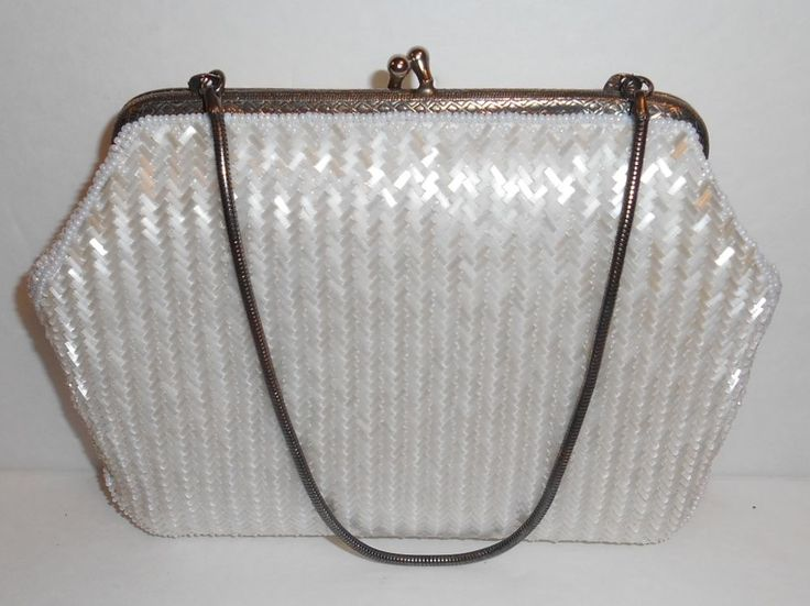Vintage Hand Made White Beaded Clutch Bag In The Crown Colony Of Hong Kong #Unbranded #Clutch