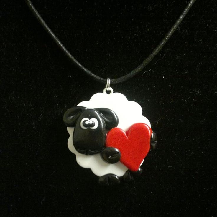 Love Ewe Sheep Pendant - Handmade using polymer clay on the Isle of Skye by Skye Raven Crafts.