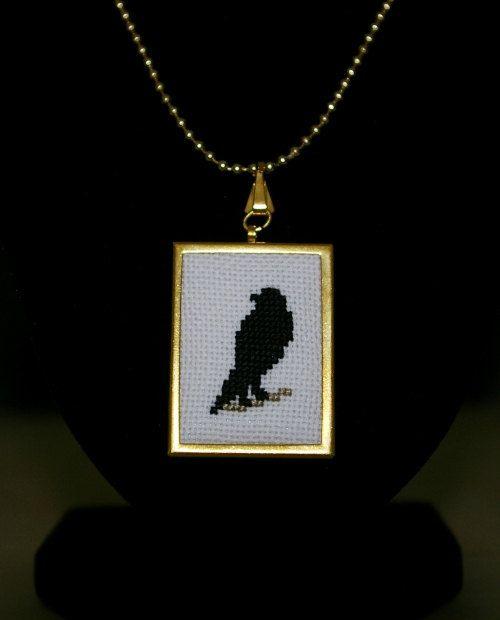 Raven Cross Stitch Pendant Black Bird by BlueTopazStitchery, $20.00