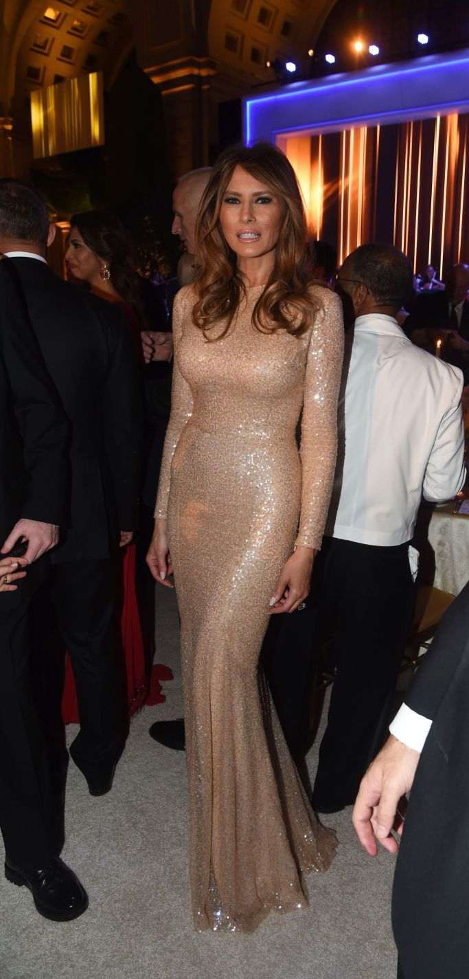 Melania Trump wearing Reem Acra at Inauguration Candlelight Dinner 2017.