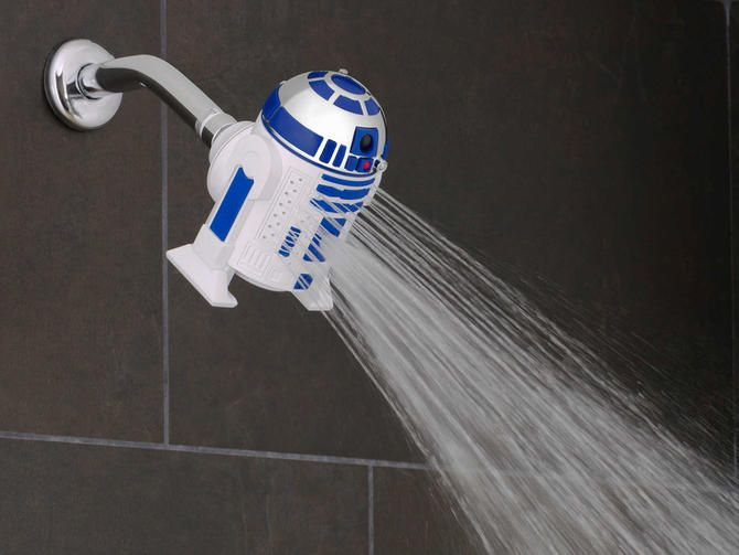 Wash away the dark side with Star Wars shower heads! Get rid of dirt (and Rebel soap scum) by getting clean with Darth Vader and R2-D2 novelty shower accessories.