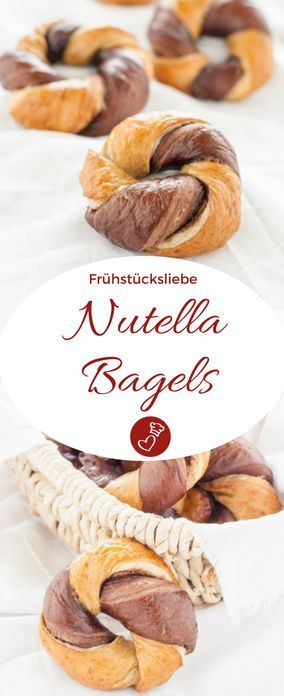 Gedrehte Bagels, mit Nuss-Nougat-Creme gefüllt