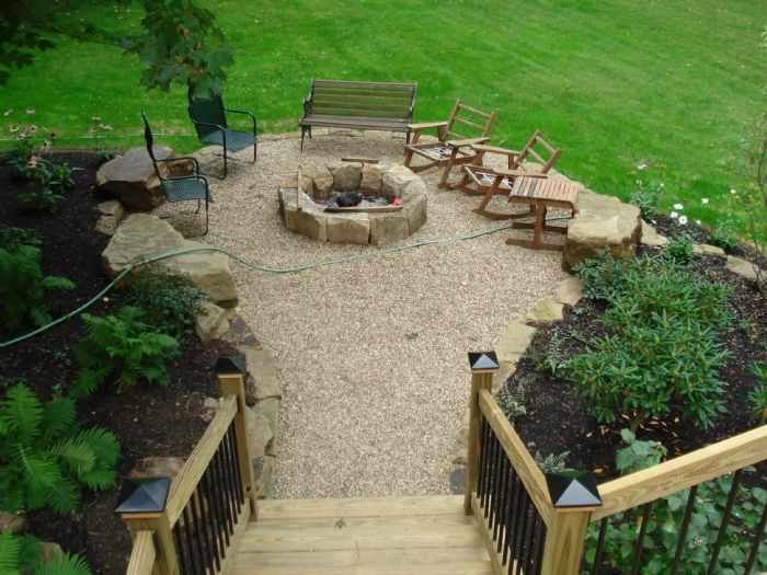 Pea gravel patio, Fire pit in the middle.