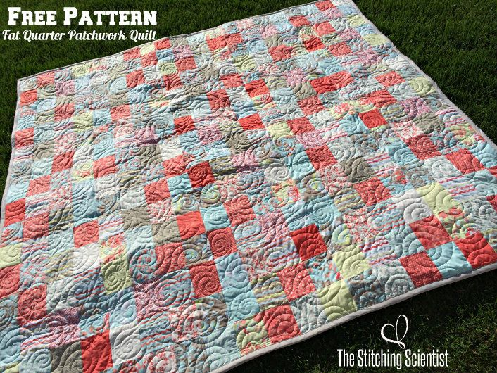 Free Pattern Easy Fat Quarter Patchwork Quilt #easyquilt #freepattern #quilt