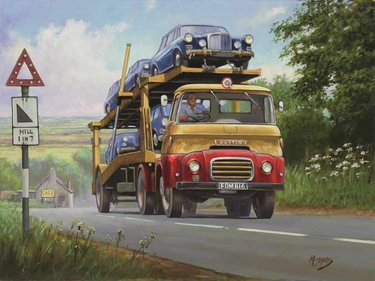 Austin Transporter by Mike Jeffries - Before the development of the Carrimore car transporter trailer the loading and un-loading of cars was a long and complicated affair, but the rams that allowed the top deck to raise and lower cut down loading and un-loading times at a stroke. Here a Mark Ii Carrimore trailer coupled to an Austin tractive unit grinds its way up a steep hill loaded with some of BMC's finest offerings in the early sixties.