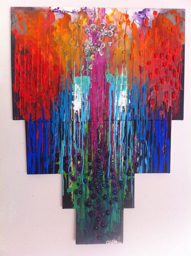 Crayon Melting and multi media painting by Corinnecy