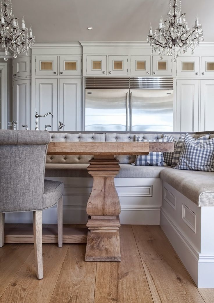 I love when there is enough room to do banquette seating at a island instead of the stool seating. This is a really nice one with lots of seating and wipe clean type fabric on the bench. It looks comfy and roomy and everyone can eat together at the holidays.