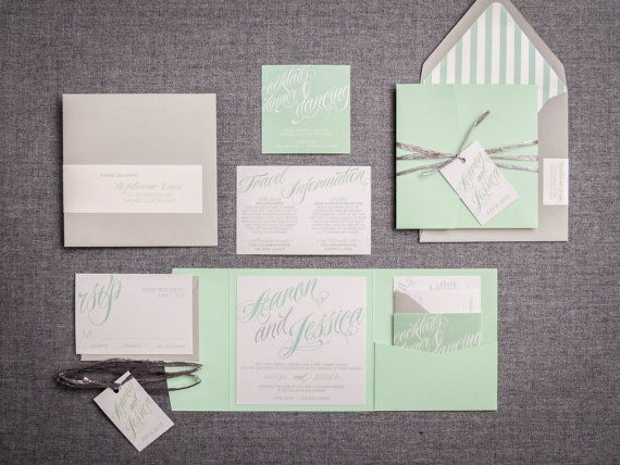 Mint Wedding Invitations, Modern Invitations, Summer Garden Wedding, Silver and Green Sweeping Script Design, Julie Hanan Design Offers DIY Discounts on Your Wedding Invitations, DIY Wedding Invitations, by Julie Hanan Design on #etsy