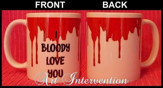 Bloody Valentines Day mugs  I bloody love by CreativeIntervention