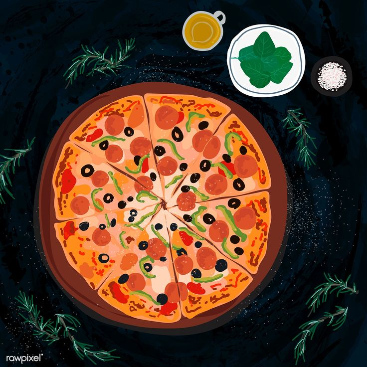 Large Italian pizza illustration free image by rawpixel
