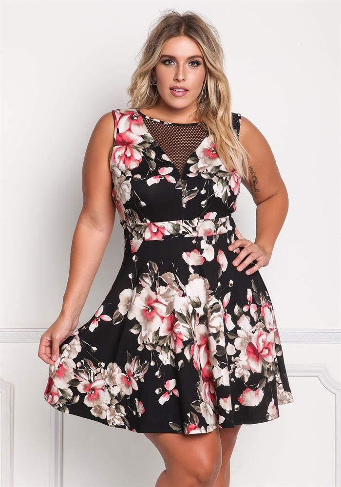 Plus Size Clothing | Plus Size Floral Mesh Flared Dress | Debshops
