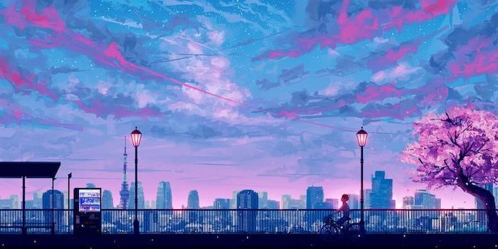 Aesthetic Iphone Wallpaper Animated City Landscape Skyline Blue Pink Colors Point Of View Fro In 2020 Scenery Wallpaper Cityscape Wallpaper Aesthetic Desktop Wallpaper