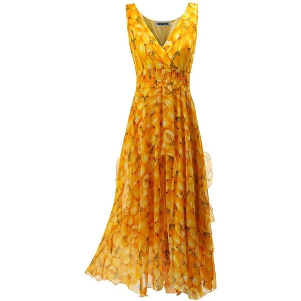 SUNNYCI Womens Summer Beach Trendy Printed Maxi Dress PEACHYELLOW Size... ($20) ❤ liked on Polyvore featuring dresses, summer dresses, beachy dresses, summer maxi dresses, beach style dresses and summer day dresses
