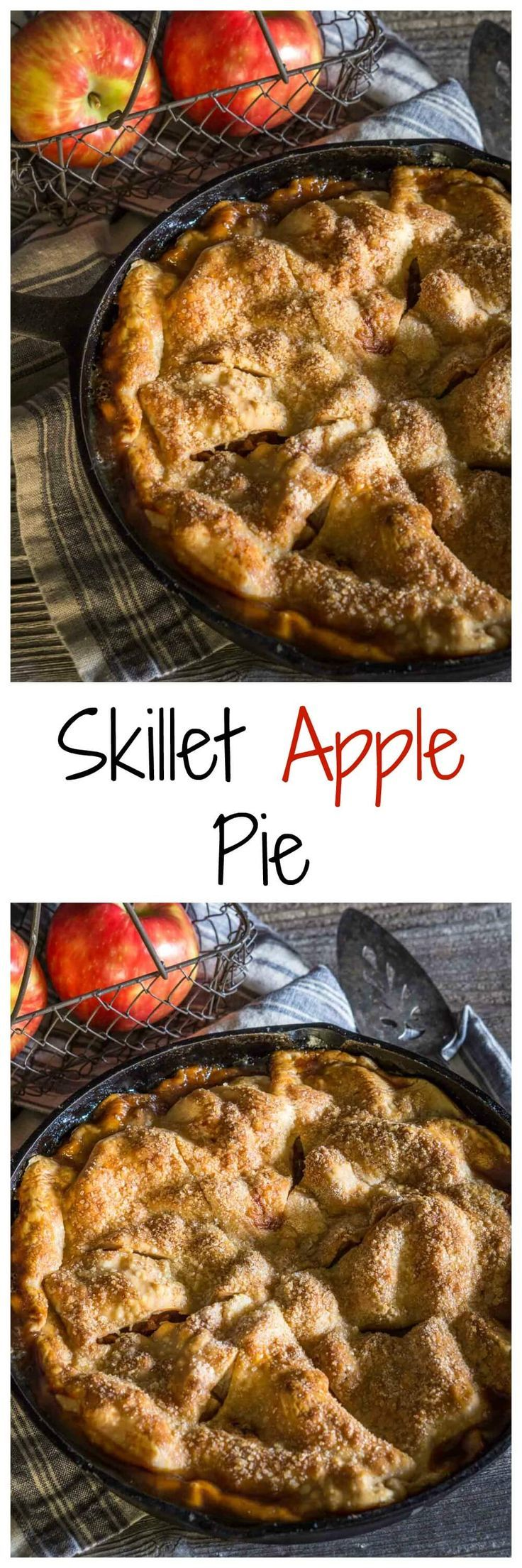 Beautiful and rustic Skillet Apple Pie has a buttery crust that's filled with a delicious warm cinnamon-apple filling. Sliced or scooped, it's scrumptious!