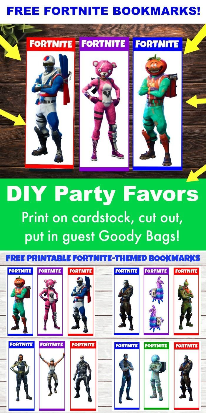 picture about Printable Fortnite titled No cost Printable Fortnite Occasion Favors! 12 Fortnite Bookmarks