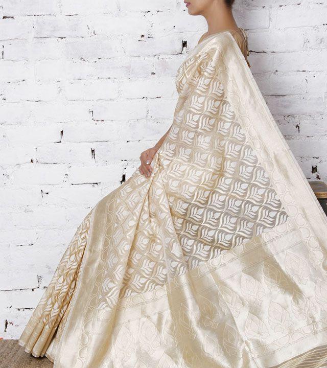 Ivory Kora Silk Saree by Surekha Arts