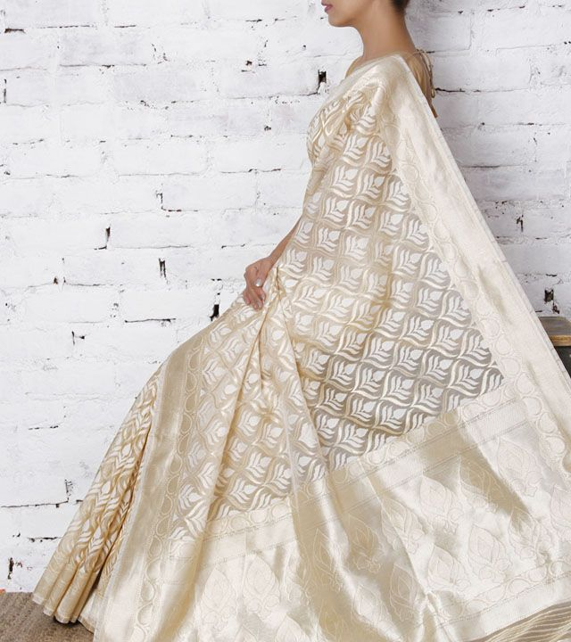 Ivory Kora Silk Saree by Surekha Arts