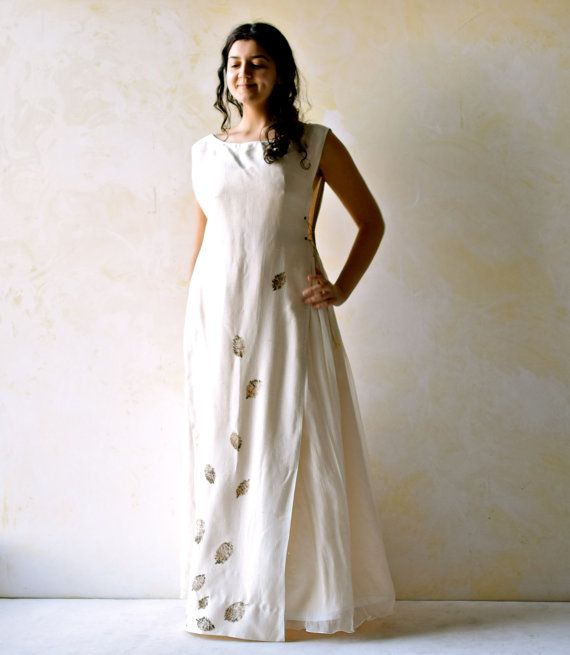 Bridal Separate Two piece wedding dress eco print silk by LoreTree
