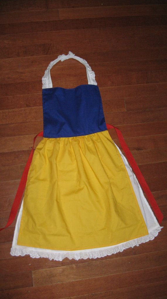 So much easier than changing clothes! They go right over their clothes...Perfect for Christmas! Snow White Inspired Dress Up Apron by LeighMarieBoutique on Etsy, $18.00