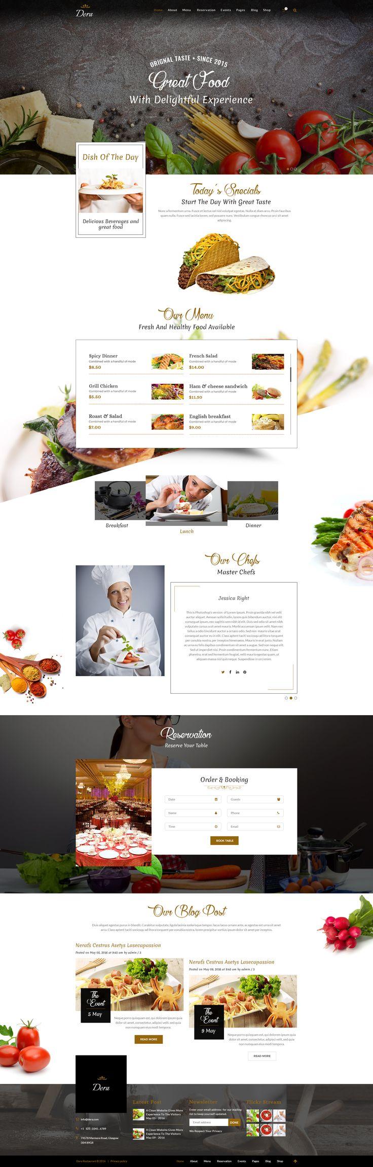 Dera Restaurant PSD Template #cafe #cake #coffee • Download ➝ https://themeforest.net/item/dera-restaurant-psd-template/15589371?ref=pxcr