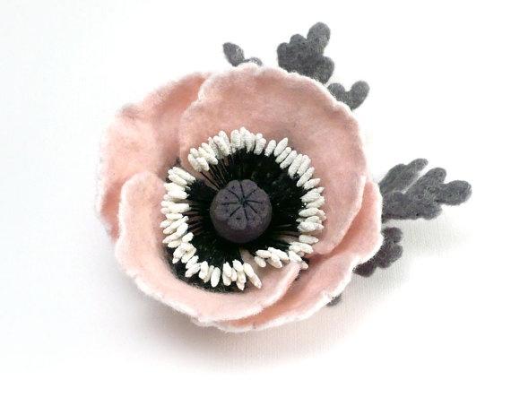 felted wool flower brooch