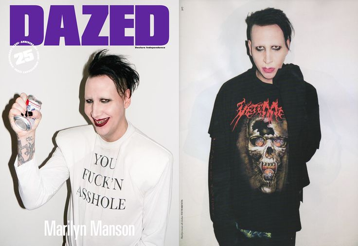 VETEMENTS FEATURED IN DAZED AND CONFUSED AUTUMN/WINTER 2016 ISSUE. MARILYN MANSON SHOT BY TERRY RICHARDSON, STYLED BY NICOLA FORMICHETY.