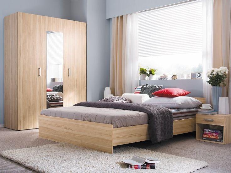 Meblościanka składa się z następujących mebli: szafa z lustrem trzydrzwiowa, łóżko, szafka nocna. Zestaw do sypialni z kolekcji Libera to nowoczesny styl który wniesie dużo świeżości do sypialni. Duże łóżko o powierzchni 160 cm pozwoli Ci na odpowiedni i komfortowy odpoczynek. Szafka nocna dopełni całości.