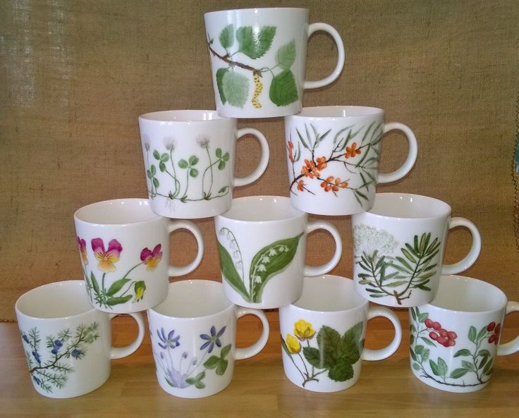 Porcelain painting : The mugs, finnish plants.
