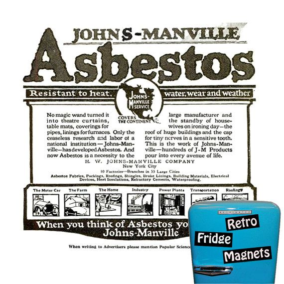 Asbestos Advertisement  Retro Fridge Magnet. by RetroFridgeMagnets, $2.00