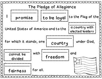 Here's a cut and past activity to help students learn the meaning of the Pledge of Allegiance.