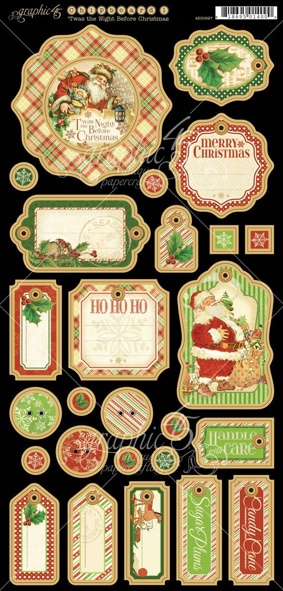 Graphic 45 Twas the Night Before Christmas Chipboard