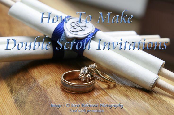 Double scroll wedding invitation