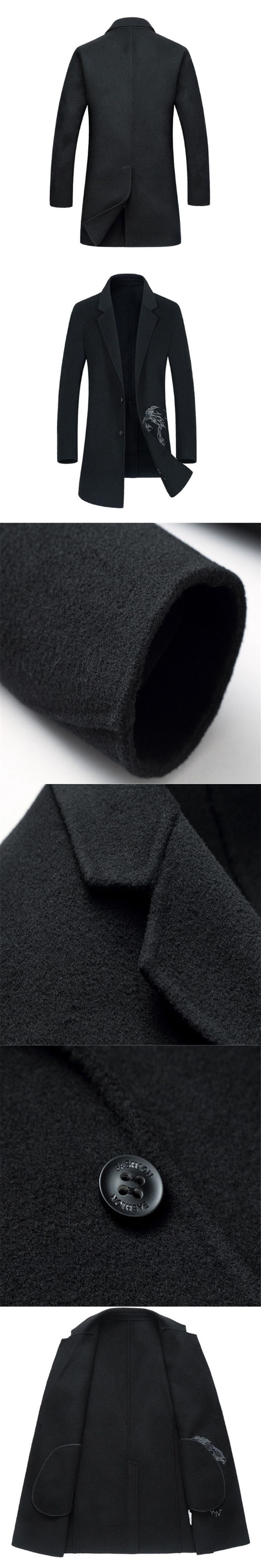 Double-sided 70% Wool Coats 2018 New Mens Peacoat Slim Long Trench Coat Embroidery Men Wool Overcoat