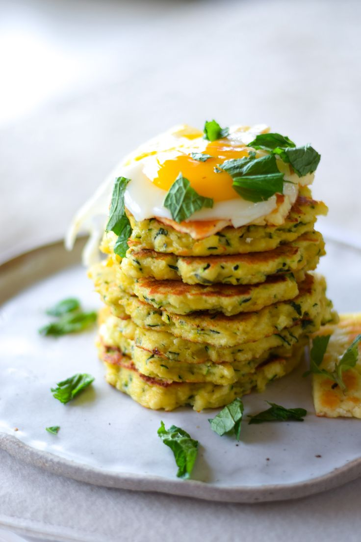 ZUCCHINI, HALOUMI, MINT AND PRESERVED LEMON FRITTERS  @georgeats