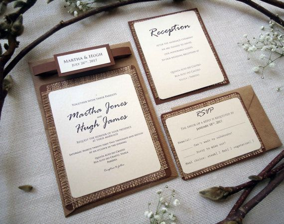 This sample is a Burlap Wedding Invitation with brown burlap in all items. Is very Rustic and Simple Invitation.  The best part of the invitations is the simplicity and harmony in each detail.