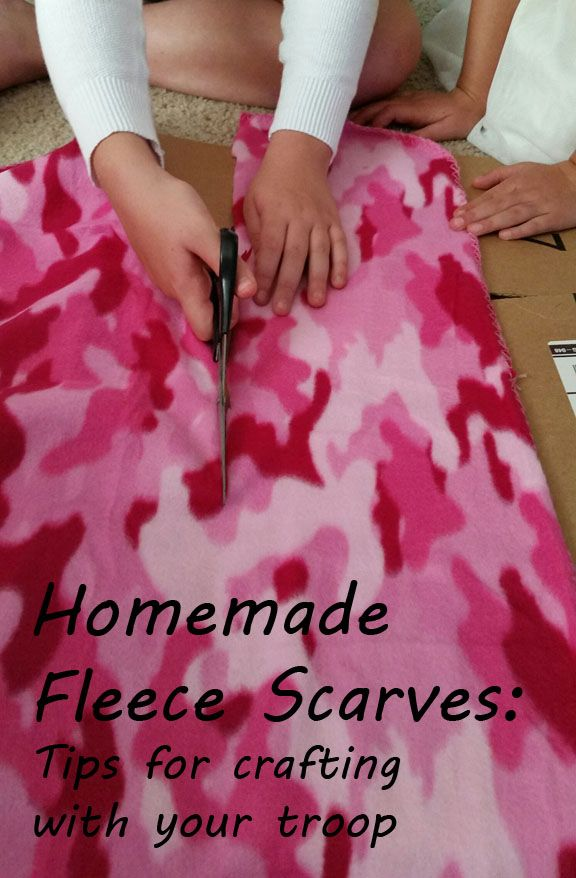 Help warm a  neighbor in need with a no-sew fleece scarf. Easy service project for Girl Scouts, Cub scouts, church youth groups and American Heritage Girls.