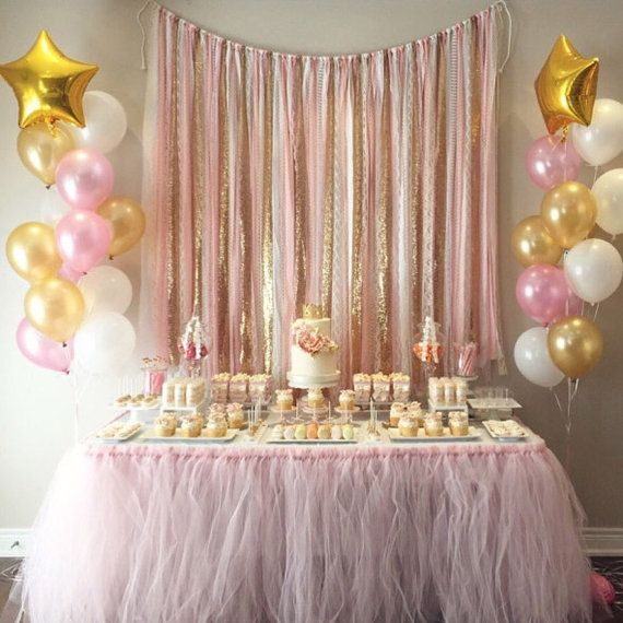 Pink & Gold Garland Backdrop birthday baby shower by ohMYcharley