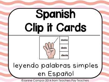 Recurso en espanol. Leyendo Palabras Simples de menos de 5 silabas. Se usa con presillas or broches de madera para marcar la palabra correcta.