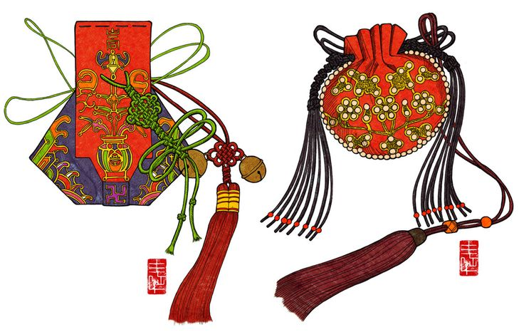 Jumeoni. These were part of the #hanbox because there were no pockets. The left one is called Gwi Jumeoni and the one on the right is called Duru Jumeoni.  By Artist:Glimja on DeviantArt #KoreanTextiles #illustration