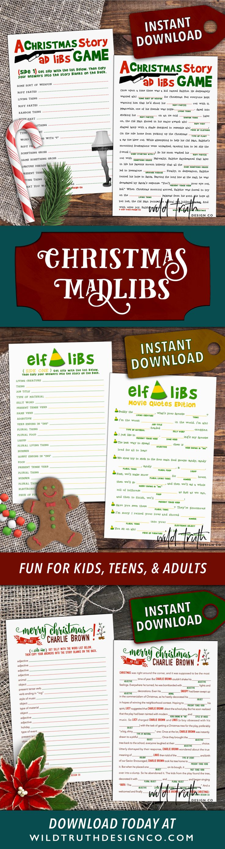 Crazy funny Christmas mad libs - printable downloads. Fun for kids, teens, & adults. Perfect for holiday office parties, classroom activities, & family fun snuggled up on the sofa!