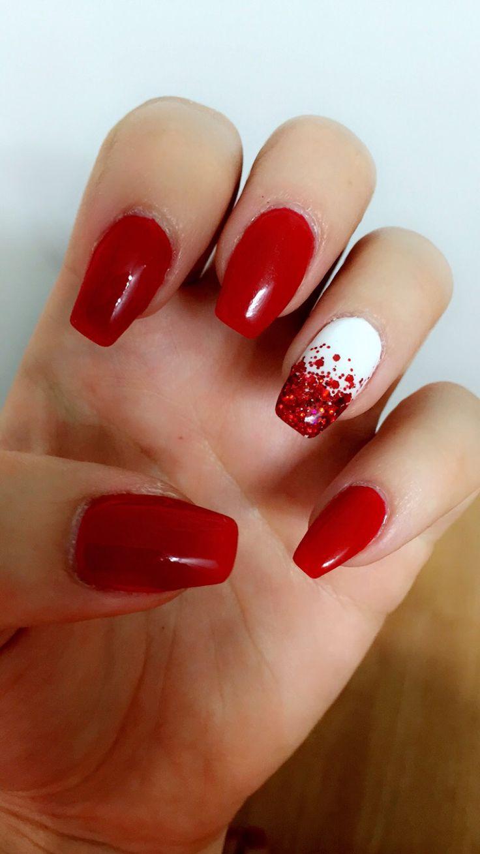 Canada Day nails gel polish