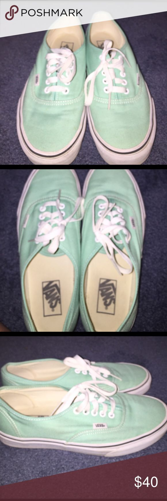 New Mint Green Vans Bought these a while ago and never have worn them. They are a mens 8.5 and a womens 10. Amazing condition and very comfy. Just looking to downgrade my closet. Vans Shoes Sneakers