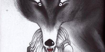 glubsk. Med det magiske fyrtøj kan man hidkalde ulvene, der i David Roberts' streg ligner varulve. Foto: David Roberts (Illustration)