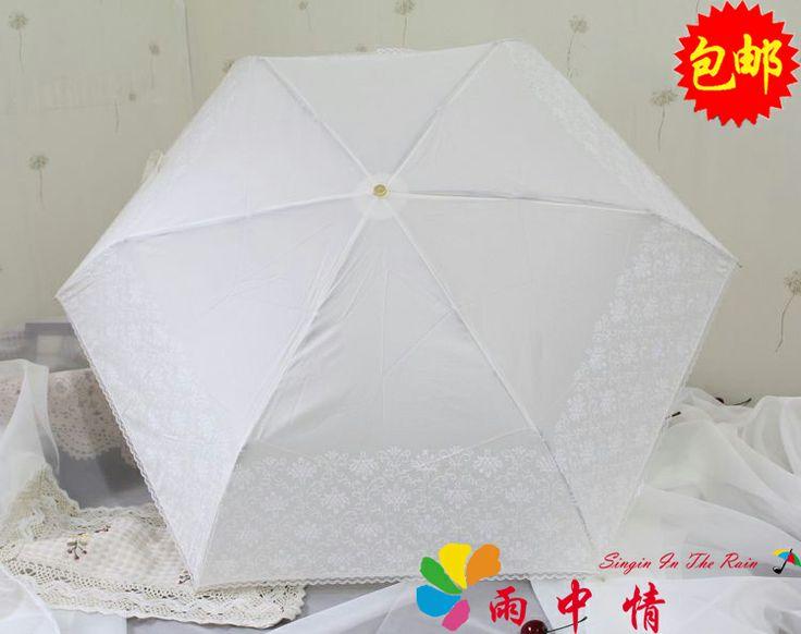 35Корейская принцесса кружевной зонтик зонтик белых воротничков зонтик полусреднем весе складной зонт УФ-зонтик доставка - Taobao