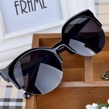 Oculos de sol feminino óculos de Sol de Alta Qualidade Mulheres Moda Retro Designer Super Rodada Círculo Óculos Cat Eye Semi-Aro(China (Mainland))